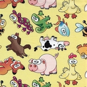 Cutest Critters Tossed Critters Cotton Fabric - Yellow