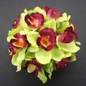 Cymbidium Orchid Kissing Ball  - 9in - Green/Beauty