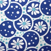 Daisies and Dots Cotton Fabric - Blue - CLEARANCE