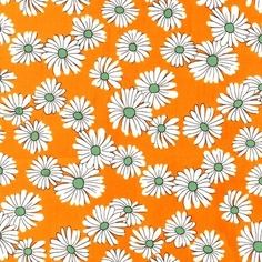 Daisies and Dots Cotton Fabric - Orange