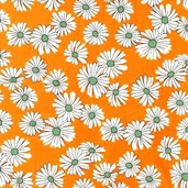 Daisies and Dots Cotton Fabric - Orange - Clearance