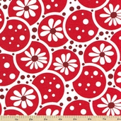 Daisies and Dots Fabric - Red