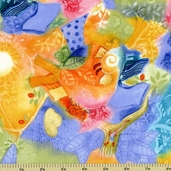 Dance of Life Watercolor Collage Cotton Fabric 22336-BS