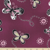 Dandelion Daydream II Cotton Fabric - Violet - Clearance