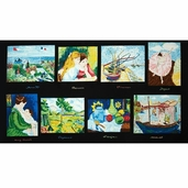 Day at the Museum Impressionist Panel Cotton Fabric - Black