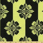 Day for Night Floral Stripe Cotton Fabric - Green 35369-3