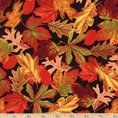 Days Of Autumn Packed Leaves Cotton Fabric - Black