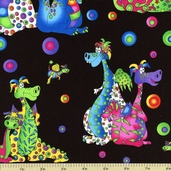 Days of Yore Dragon Cotton Fabric Black