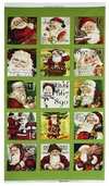 Dear Santa Patch Cotton Fabric Panel - Green