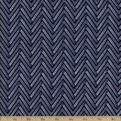 Dear Stella Lola Zig Zag Cotton Fabric - Indigo