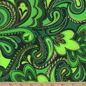 Deck the Halls Holiday Paisley Cotton Fabric - Green
