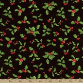 Deck the Halls Holly and Berry Cotton Fabric - Black