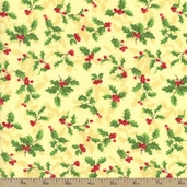 Deck the Halls Holly and Berry Cotton Fabric - Light Gold