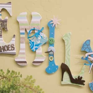 Decorated Wood Wall Letters