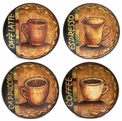 Decorative Ceramic Plates Round - Coffee 4 pack