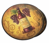 Decorative Ceramic Plates Round - Wine 4 pack