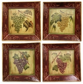 Decorative Ceramic Plates Square - Wine 4 pack - Clearance
