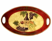 Decorative Ceramic Tray - Wine and Grapes - Clearance