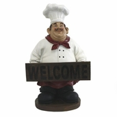Decorative Chef - French Fat Chef with Welcome Sign Board