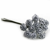 Decorative Wedding Flower 12 Pack Bundle - Silver