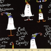 Delightfully Frightful Ghost Cotton Fabric - Black