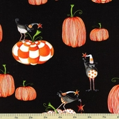 Delightfully Frightful Pumpkin Cotton Fabric - Black