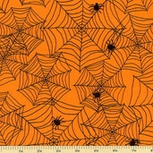 Delightfully Frightful Spider Web Cotton Fabric - Orange