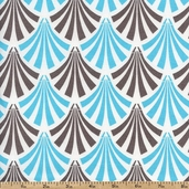 Design Studio Feather Fan Cotton Fabric - Aqua