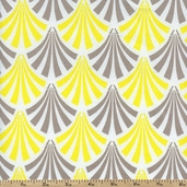 Design Studio Feather Fan Cotton Fabric - Yellow