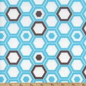 Design Studio Hexagon Cotton Fabric - Aqua