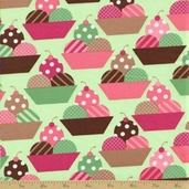 Dessert Party Cotton Fabric - Pistachio Scoops
