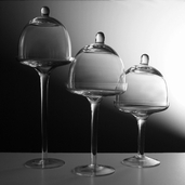 Dessert Stands With Dome Set of 3 Assorted Sizes - Clear Glass - Clearance