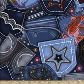 Diamonds And Denim Pocket Bling Cotton Fabric - Blue