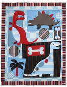 Dino Friends Panel Cotton Fabric -  Blue DT-2682-2C
