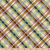 Dino Roars Lil' Bias Cotton Fabric - Plaid Multi CX5877-MULT-D