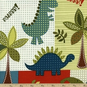 Dino Roars Lil' Dinos Cotton Fabric - Multi CX5871-MULT-D