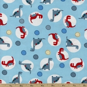 Dino World Cotton Fabric - Blue DT-2685-2C