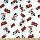 Disney Comic Character Toss Cotton Fabric - White