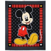 Disney Mickey Panel Cotton Fabric - Grey