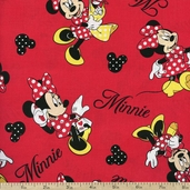 Disney Minnie Loves Shopping Toss Cotton Fabric - Red