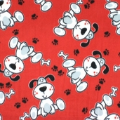 Dog Fleece Fabric - Red