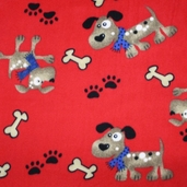Dog Fleece Fabrics - Red