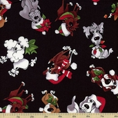 Doggie Holiday Doggie Toss Cotton Fabric - Black