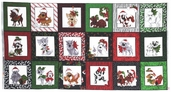 Doggie Holiday Patch Cotton Fabric - Panel