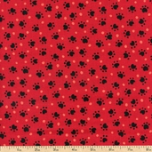 Doggonit Paw Prints Cotton Fabric - Red