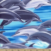 Dolphins Ocean Cotton Fabric - Blue