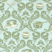 Domestic Diva Cotton Fabric - Green - CLEARANCE