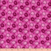 Dot Kitty Paw Prints Cotton Fabric - Pink