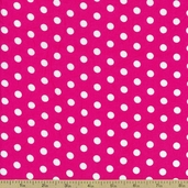 Dots and Stripes Small Dot Cotton Fabric - Fuchsia