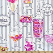 Dotties Sweet Shop Jars Cotton Fabric - White DSSH-00600 - Clearance